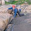 David Barlow on Senility Crack 5.9, at Tramline Slabs on the Tizi Escarpment, photo Pete Johnson