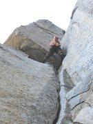 Rock Climbing Photo: Luke starting on the tricky offwidth on the 2nd Pi...