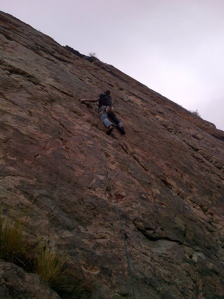 """Rock Climbing Photo: Best route at Red Slab, Mike Keegan on """"Slip ..."""