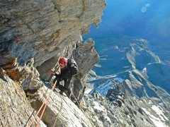 Rock Climbing Photo: Looking down at my partner Ricky as we near the se...