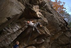 Rock Climbing Photo: Greg after cutting feet to get into clipping posit...