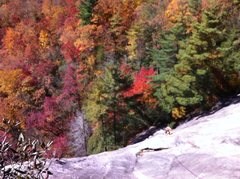 Rock Climbing Photo: Fall colors on P1 of Groover, Laurel Knob, NC