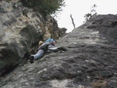 Rock Climbing Photo: Gnarles looking for lost holds on lost ninja.