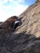 Rock Climbing Photo: Deb tries the left start before the hold broke off...