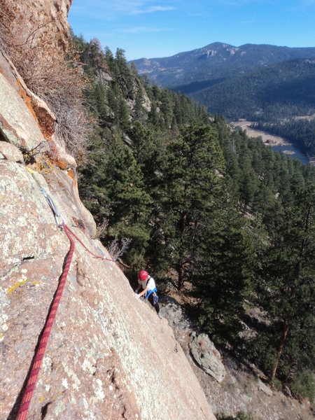 Rock Climbing Photo: Deb frees the line on TR.  This shot is taken from...