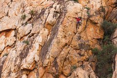 Rock Climbing Photo: Paul Statton on the first pitch of Firesword 5.10b...