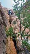 Rock Climbing Photo: Emma Alsford on the third pitch of Firesword, on t...