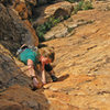 Emma Alsford on the fourth and final pitch of Firesword on the first ascent 5.10b, photo Paul Donnithorne