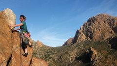 Rock Climbing Photo: Emma Alsford on the descent 'ridge scramble' along...