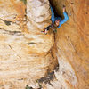 Jessie Rushbrooke on the first pitch of Em's Cleft 5.9, photo Emma Alsford