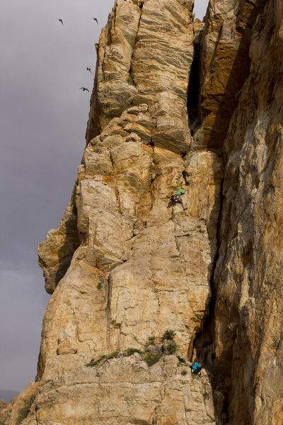 Mike Pycroft and Jessie Rushbrooke on the second 'chimney' pitch of Em's Cleft 5.9, photo Emma Alsford