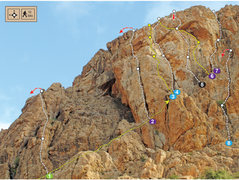 Rock Climbing Photo: Topo for North Gully Wall on Adrar Iffran - Em's C...