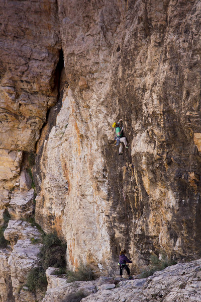 Rock Climbing Photo: Mike Pycroft on the first 'crux' pitch of The Migh...