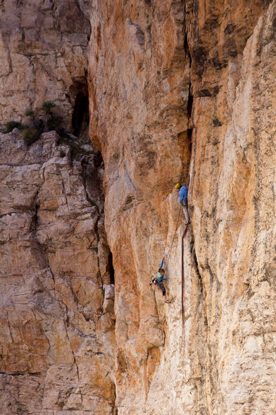Jessie Rushbrooke at the top of the first pitch of The Mighty Logan 5.11a, photo Emma Alsford
