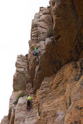 Mike Pycroft and Jessie Rushbrooke on the third and final pitch of The Mighty Logan, photo Emma Alsford