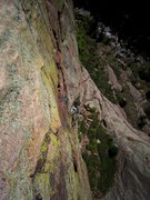 Rock Climbing Photo: David Reinert comes up following on the crux of th...