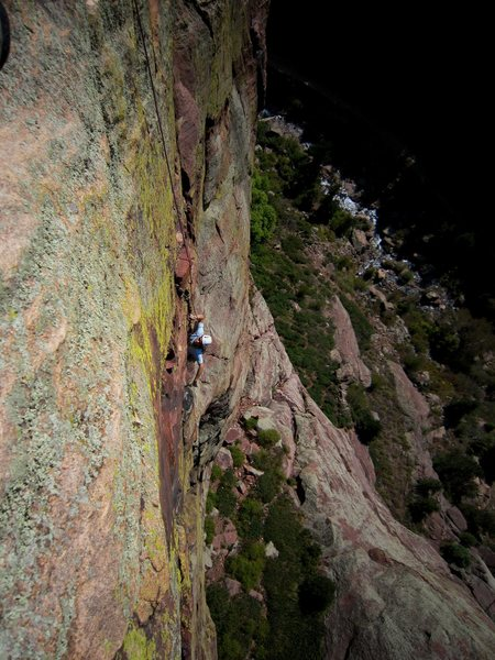 David Reinert up to the second bulging crux of P1 of King Tut (5.9+, R) on Redgarden Wall.
