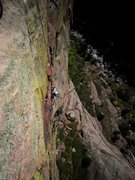 Rock Climbing Photo: David Reinert up to the second bulging crux of P1 ...