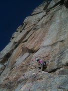 Rock Climbing Photo: Lindsay placing gear before the bolts on P1