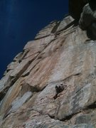 Rock Climbing Photo: Lindsay starting up the bolted section and looking...
