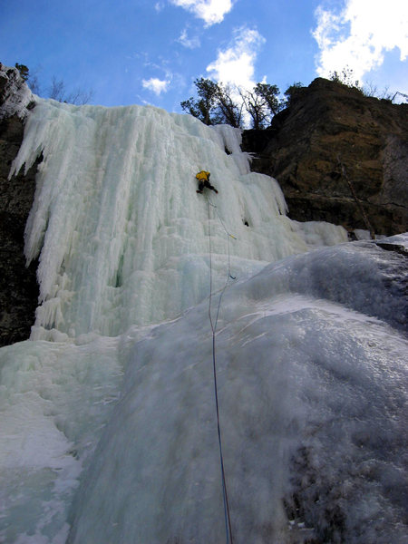 Bill on The Outdoorsman. The approach is long and strenuous if the small waterfall blocking the creek isn't frozen.