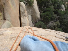 Rock Climbing Photo: Atop pitch 2, Andy waiting as I fall at the cruxes...
