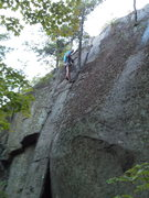 Rock Climbing Photo: James Debella cleaning the new route...