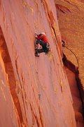 Rock Climbing Photo: Dan Hughes climbing the splitter finger crack, Imm...
