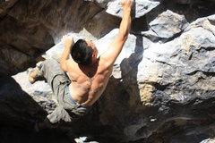 Rock Climbing Photo: hooking and reaching