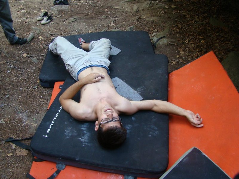 Rock Climbing Photo: Sit Down Traverse wins this time