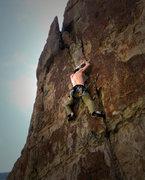 Rock Climbing Photo: Bill on Pea Green