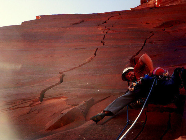 Rock Climbing Photo: Asa starting up the crux third pitch on the first ...