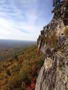 Rock Climbing Photo: High Exposure belay ledge. Looking South. Photo ta...