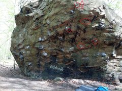 Rock Climbing Photo: Frankenrock showing markup for project stand-start...
