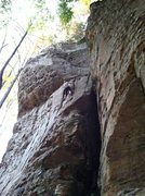 Rock Climbing Photo: Pat near the top.