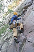 "Rock Climbing Photo: Mike Sohasky starts onsight lead of ""Fritz&qu..."