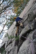 Rock Climbing Photo: Mike Sohasky at the crux moves on the lead of &quo...