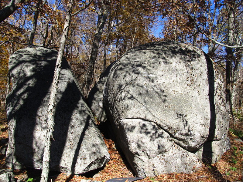 """October Boulder is the right one. The Left arete is where """"Kettle Cooked"""" starts. The left boulder is the Perfecto Boulder."""