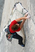 Rock Climbing Photo: Mary Devore coming up on the crux of mountainproje...