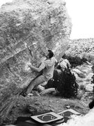 Rock Climbing Photo: At the start of the United Device problem on the B...