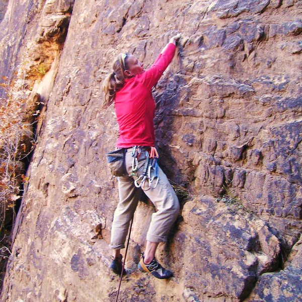 Rock Climbing Photo: Undeterred by the approach and dirty holds, Pam on...