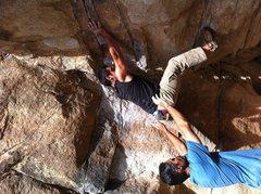 Rock Climbing Photo: Ali in the crux on Gunsmoke Traverse with Sandeep ...