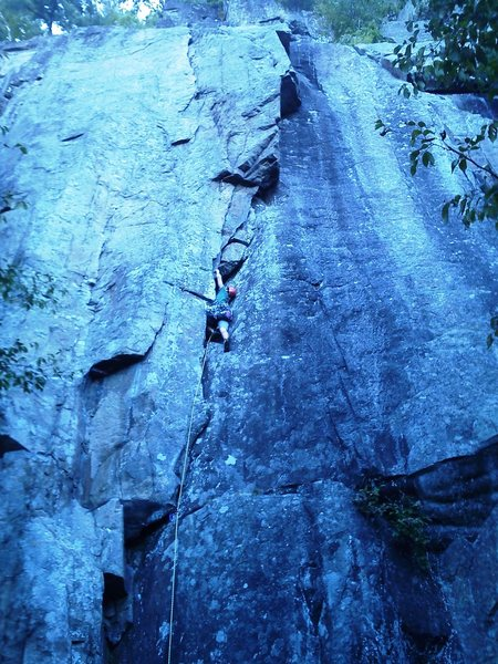 Rock Climbing Photo: Jake Hadden leading the route at a crux section......