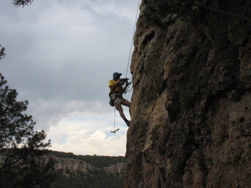 "Rock Climbing Photo: Gary Ballard bolting ""Loves Me Like a Rock&qu..."