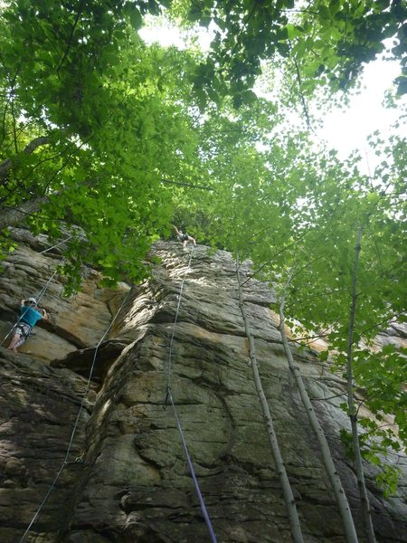 Rock Climbing Photo: Topping out her first lead