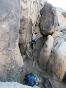 Rock Climbing Photo: working the bottom of this sport route at sunset c...