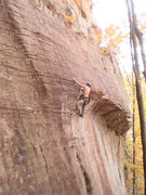 Rock Climbing Photo: Pulling through the crux roof on Yell Fire!