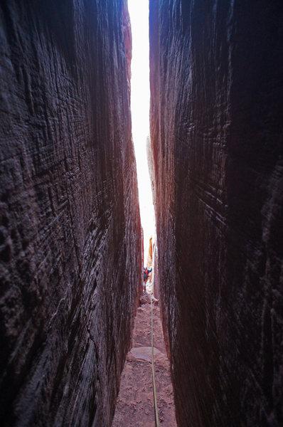 Rock Climbing Photo: Deep inside Longbow Chimney.