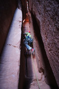 Rock Climbing Photo: Climber starting up Longbow Chimney.