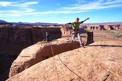 Rock Climbing Photo: Jumping over the chimney to the other half of the ...